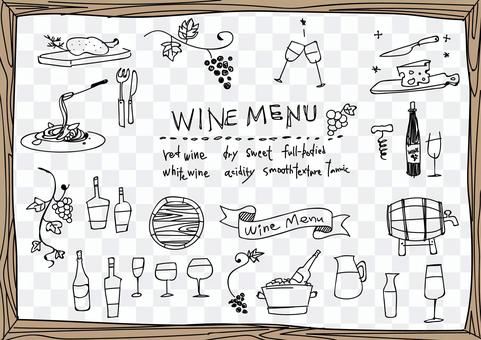 Hand-painted wine illustration set (line art)