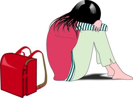 Depressed lonely sitting school bag child