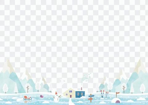 Winter background frame 038 snow scene watercolor