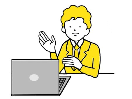 一個在電腦上工作的人