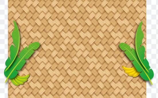 竹編織圖案和香蕉