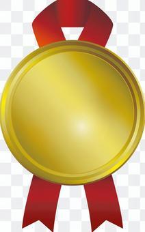 Red ribbon golden medal frame frame decorative frame background picture