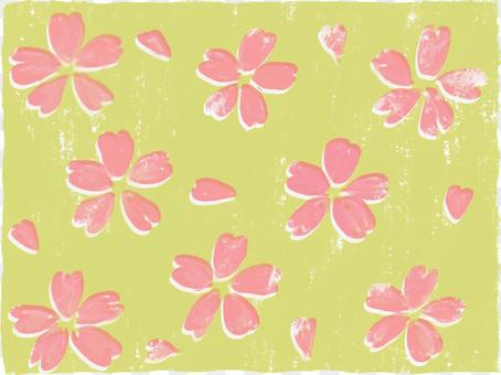 Chiyogami風格與黃綠色背景,櫻花背景
