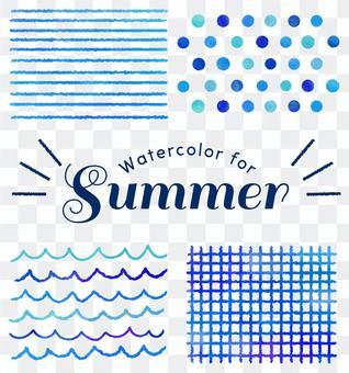 夏天水彩紋理藍色