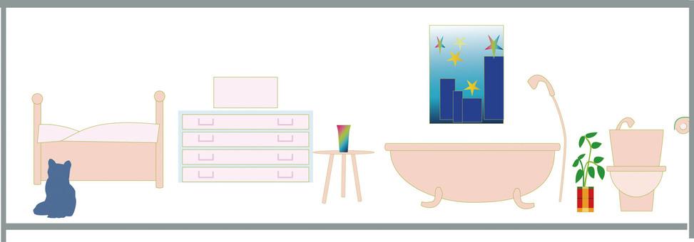 Living sanitary bedroom cat