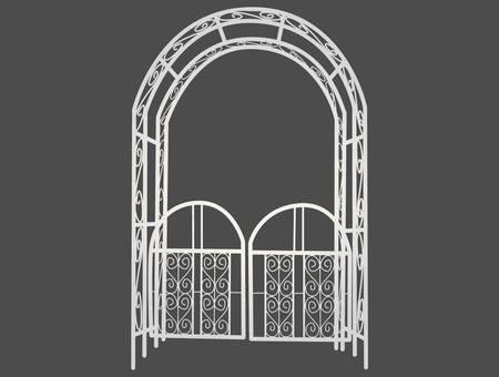 Illustration of white gardening arch