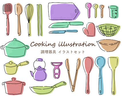 Hand-drawn illustration set of various cooking utensils