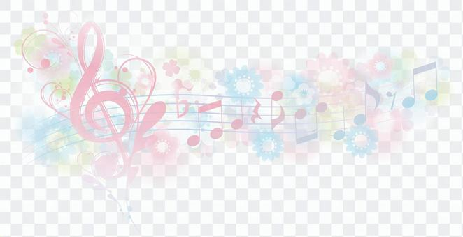 Elegant musical note line in the spring-colored flower field