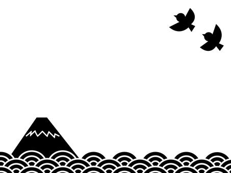 富士的雲海和飛鳥在天上的日本懷舊風光