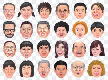 各種面孔的插圖集