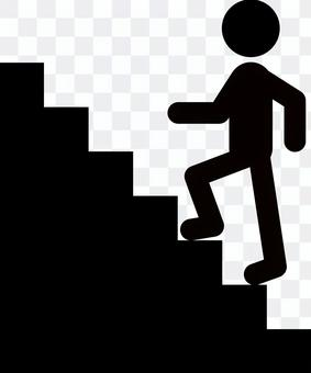 A person climbing stairs