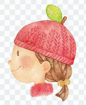 蘋果針織帽女孩