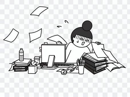 凌亂的辦公桌B&W