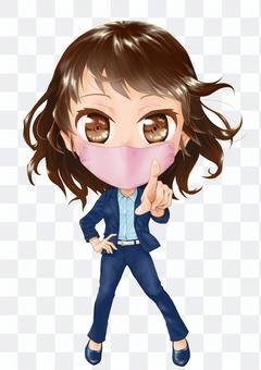 指向一個面具的人一個女人的插圖