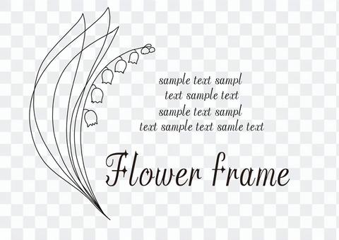 Lily of the valley line drawing flower frame monochrome