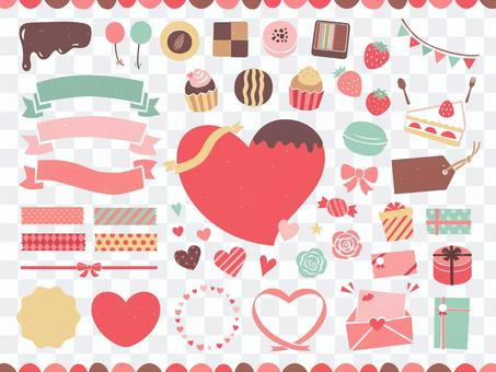 Valentine design and illustration set