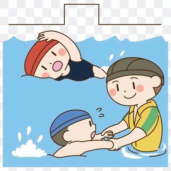 學校游泳課的插圖