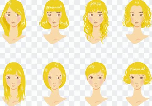 女性髮型各種漂白劑