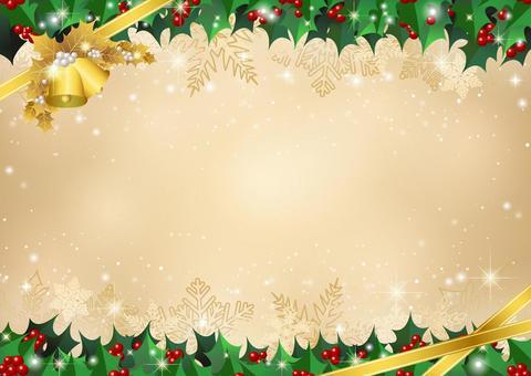 柊フレームのクリスマス背景金ヨコ