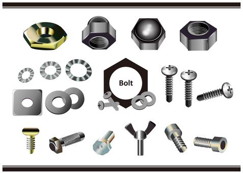 螺釘、螺母和六角螺栓的插圖