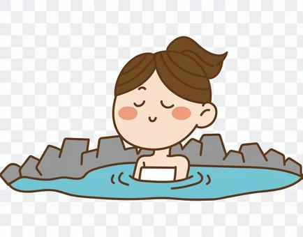 露天浴池,女
