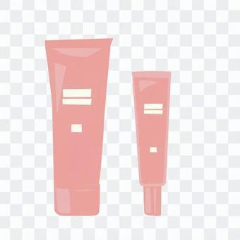 粉紅色的管狀容器