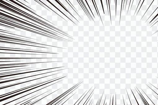 集中線・効果線・右側ズーム(漫画)素材