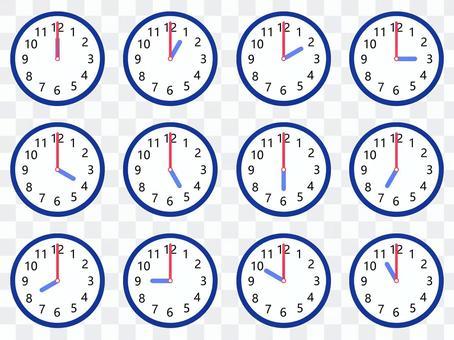 時鐘設定為12點