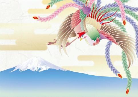 鳳凰_日本紙的背景_富士山