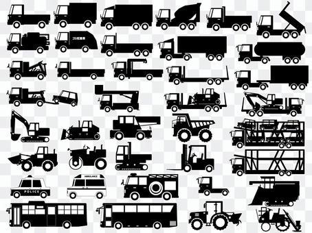 工作車(卡車,重型設備等)輪廓