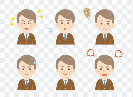 中年男子_西裝_各種面部表情集