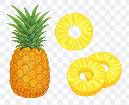 Whole pineapple & sliced