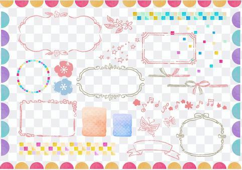 Japanese pattern material 016 Hanging frame set