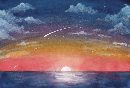 流星雨在晨曦中