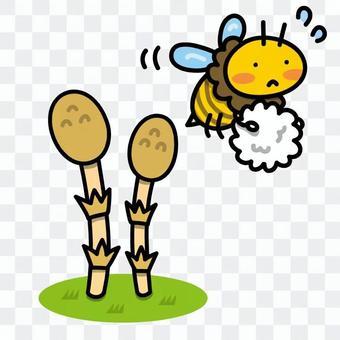 Tsukushi和蜜蜂的例證