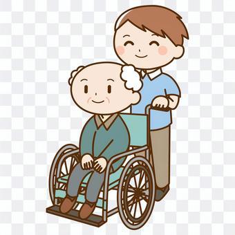 照料者推輪椅與一個老人