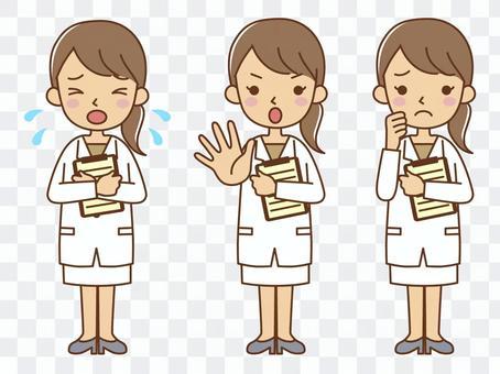 Full body female doctor counselor set 3