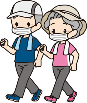 Walking elderly couple (short sleeves / mask)