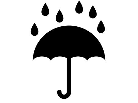 雨和傘圖標 B:單色