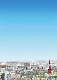 城市中心的遠景(陽光/垂直)