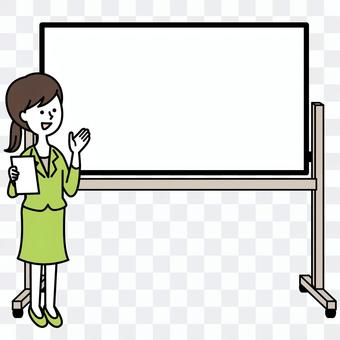 Women with whiteboard and suit