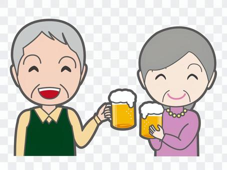 Cheers with beer Old gentleman lady