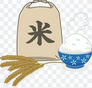 大米袋,大米和米飯