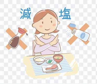 低鹽飲食健康插畫
