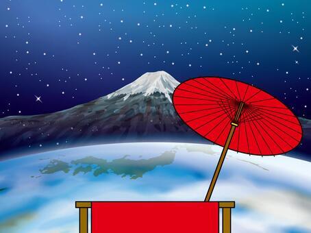在茶室的椅子上休息(49)地球富士