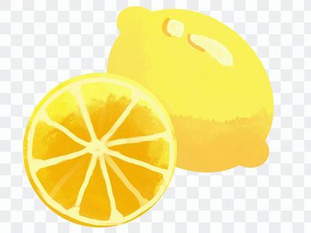 水彩風格檸檬切