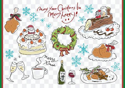 手繪可愛的聖誕節粗糙圖