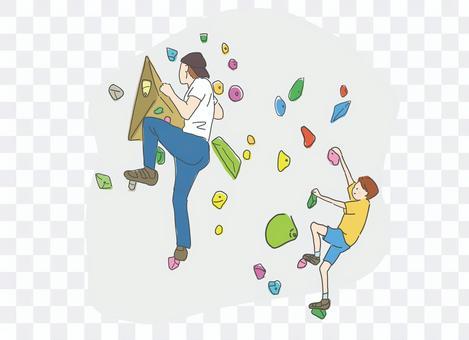 ボルダリングをする親子