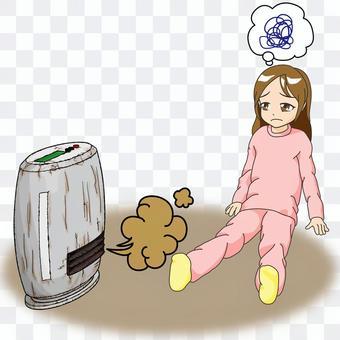 Fan heater, a girl who is in trouble due to a breakdown