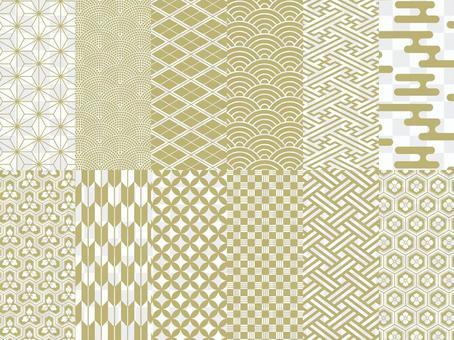 日式花紋12款套裝/金色/新年